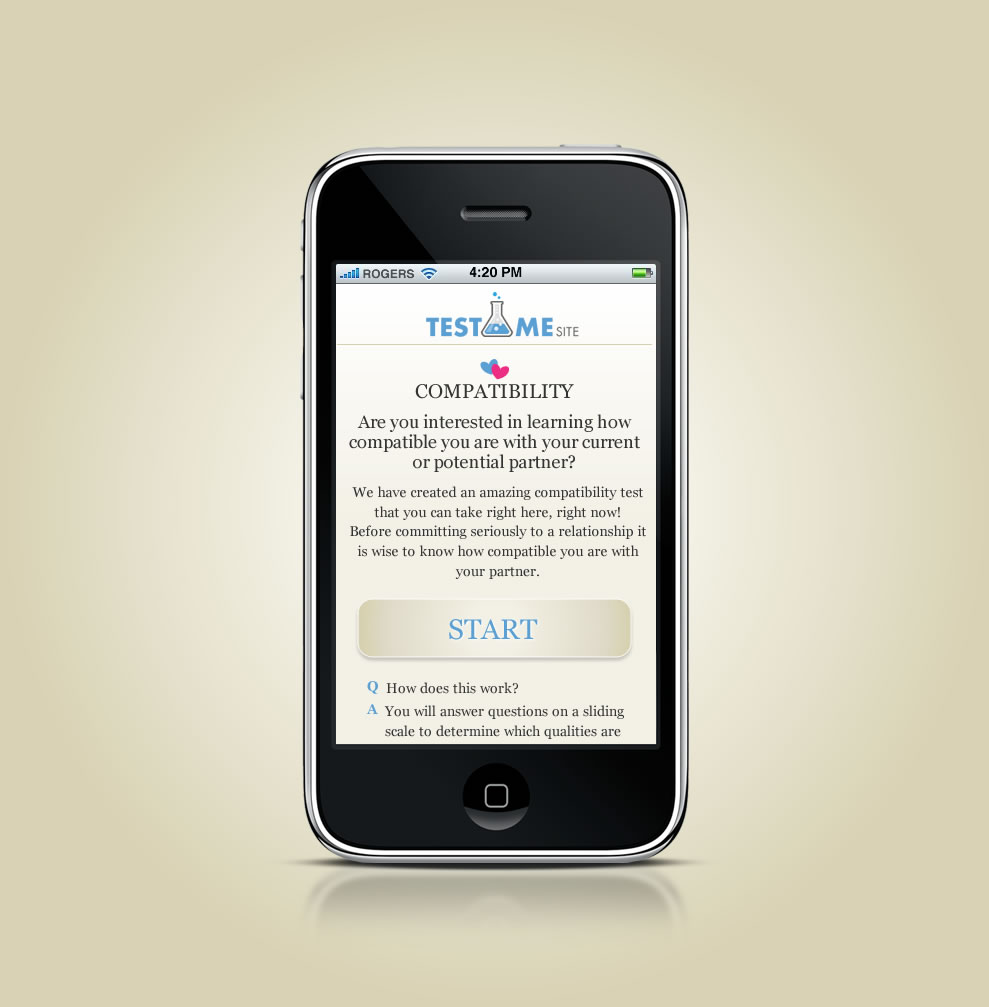 TestMe  - Online compatibility testing - Mobile Design